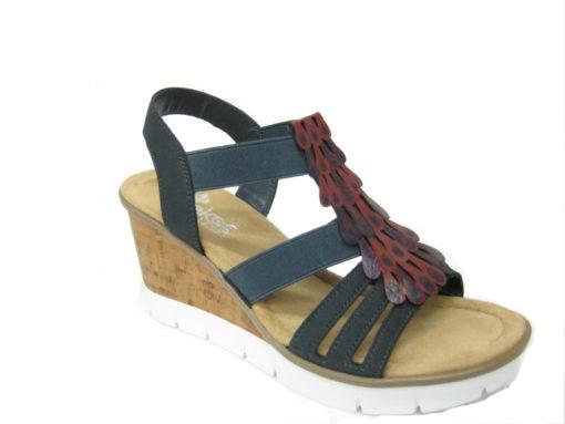 Damskie sandały na koturnie Rieker, kolor niebieski