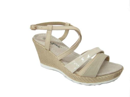 Letnie buty damskie, na koturnie kolor beżowy